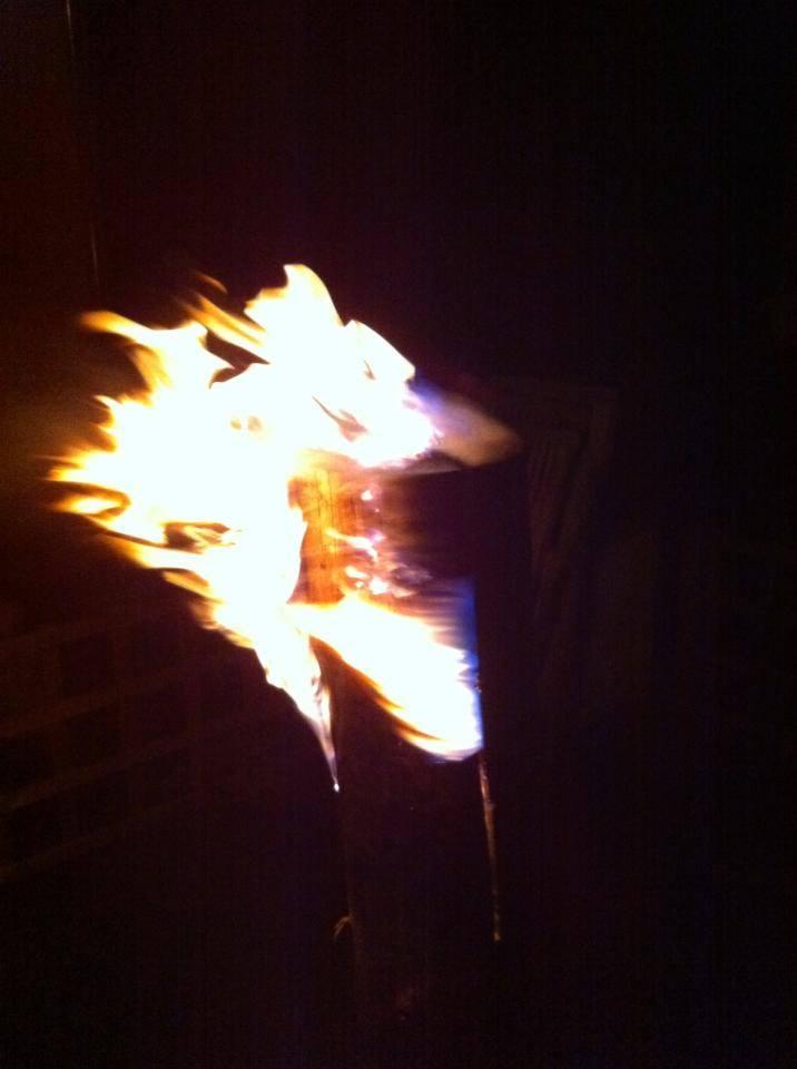 Tronc d'un arbre en feu
